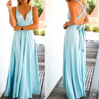 Long Bandage Multiway Convertible Dresses Infinity Wrap Robe Maxi Dress