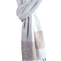 Charter Club Women's Fringed Tri-Color Woven Chenille Scarf