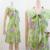 Vintage 60s Dress Green Purple Floral MOD Pussy Bow Pleated Skirt M  L