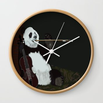 panda violinist Wall Clock by pukis