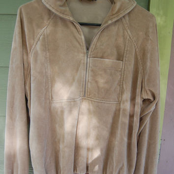 Vintage 70s Tan Velour Zip Neck Pullover Mens Size SML 46 Chest