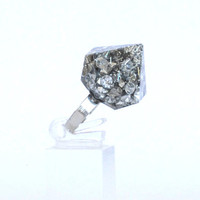 Silver Zirconia Glitter Resin Diamond Ring