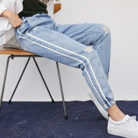 Spring Summer Holes Fashion Women Jeans Trousers Ankle Length Pants High Waist Pockets Harem Strip Vintage Pants