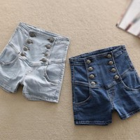Womens Summers Vintage High Waisted Denim Shorts