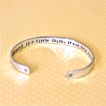 Friend / Teen Gift - Friendship Pixie Dust / Peter Pan Custom Hand Stamped Aluminum Cuff Bracelet by Korena Loves