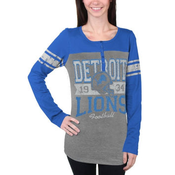 Detroit Lions New Era Women's Tri-Blend Henley Long Sleeve T-Shirt - Gray/Light Blue