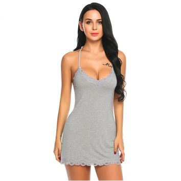 Nightgown Women Lace Nightwear Backless Sleepwear Sexy V Neck Nightgowns Sleeveless Nightdress Lady Home Clothes