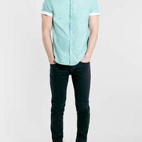 Green Contrast Sleeve Shirt - Men's Shirts - Clothing