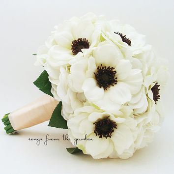 White Anemone Black Center Wedding Bouquet White Silk Hydrangea - Silk Flower Black and White Wedding Bouquet