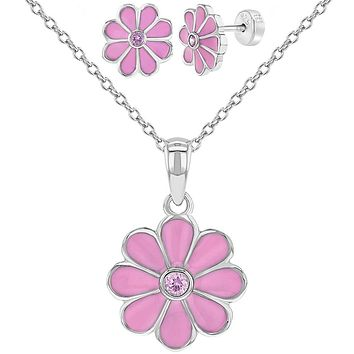 925 Sterling Silver Pink CZ Enamel Flower Jewelry Set Necklace Earrings Girls