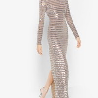 Stripe Sequined Stretch-Tulle Gown | Michael Kors