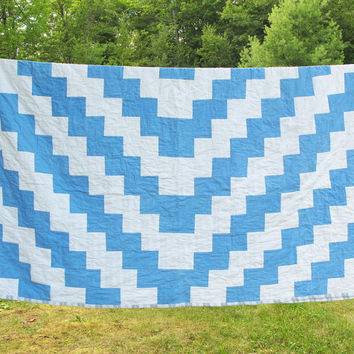 "Vintage blue and white quilt quilted blanket quilted cover coverlet - Cottage chic decor - Farmhouse bedding 82"" x 62"""
