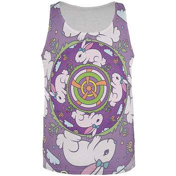 Mandala Trippy Stained Glass Easter Bunny All Over Mens Tank Top