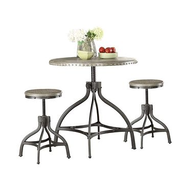 Adjustable Counter Height & Stool Set, Gray Oak, 3 Piece Pack