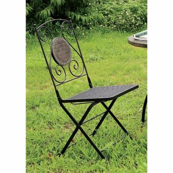 2 Piece Minimalistic Folding Metal Chair With Decoration On Back, Black