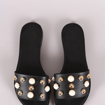 Liliana Faux Pearl And Stud Slide Flat Sandal