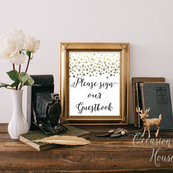 Please Sign our Guestbook Sign Printable Gold confetti wedding sign wedding guestbook,Instant Download