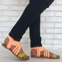 Lime & Neon Coral Athena Sandals