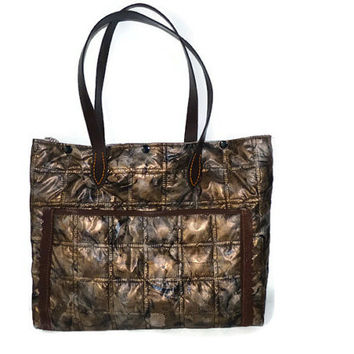 Woman Bag quilted plasticized fabric with watches / Plasticized Brown  Bag  (waterproof outer ), Brown Tote bag, Shoulder bag, Woman gift
