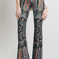Black High-Waisted Printed Boot Cut Flare Trousers