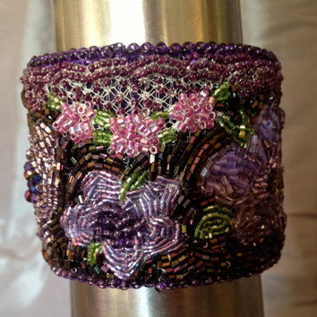 Purple Beaded Bracelet, Beaded Cuff, Seed Bead Embroidery,Flower Motif, Entry for Purple Minifest for EBEG