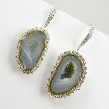 SALE - Tabasco Geode Earrings Geode Blue Grey Slice Raw Gemstone Earrings Diamond Look Bezel Swarovski Crystal - Dahlia
