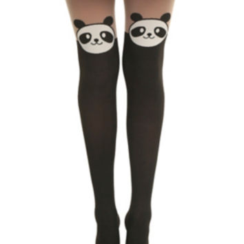 387c40124a6 LOVEsick Panda Faux Thigh High Tights from Hot Topic