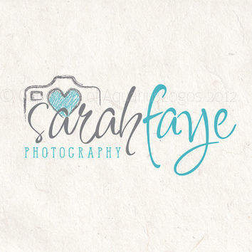 Premade Photography logo design and logo Watermark. Camera logo and heart logo - Grey and teal blue