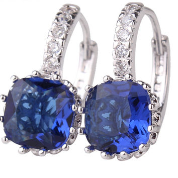 Elegant Princess Crystal Hoop Earrings