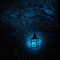 Valentines Lantern - Glow in the Dark Star Poster - Romantic night light