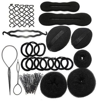 PEAPGC3 1Set Hairdressing DIY Hair Accessories Sponge Disk Hair Increased Pad Hair Pin Clip Rubber Band Professional Tools Braid Style