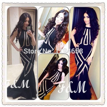 Black New Arrival 2014 Halter Mermaid Prom Dresses Long Fishtail Style Tulle Evening Formal For Party Pageant Gowns