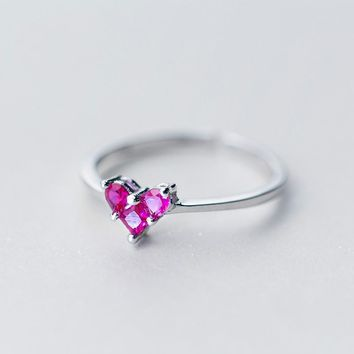 S925 Sterling Silver Sweet Red Diamond Heart-shaped Open Ring Ring Cute Love Ring J3004  171204