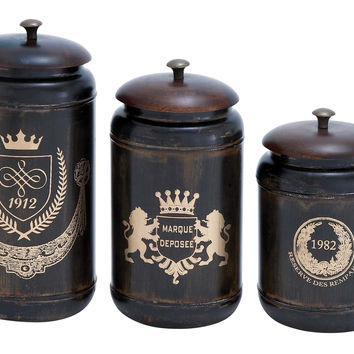 Harvey & Haley Canisters with Cylindrical Jars & Matching Lids - Set of 3