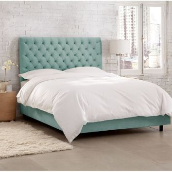 Skyline Velvet Tufted Upholstered Low Profile Bed | www.hayneedle.com