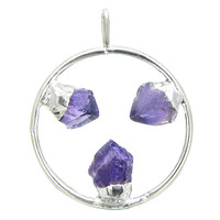 Healing Circle with Triple Rough Amethyst Crystal Point Pendant