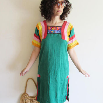 Vintage Green and Rainbow Craftwear of Old Albuquerque Hippy Boho Festival Tunic Folk Dress