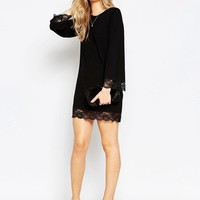 ASOS | ASOS Mini Swing Dress With Lace Hem at ASOS