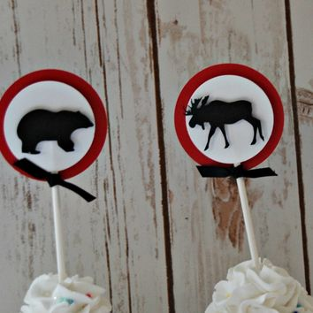 Lumberjack Themed Birthday Party Cupcake Toppers, Forest Animals Party Decorations (set of 12)