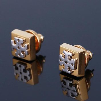 Tory Burch fashion new personality women square earring accessories golden