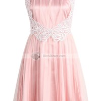 other' Pink Sleeveless Back Split Pleated Dress - DinoDirect.com