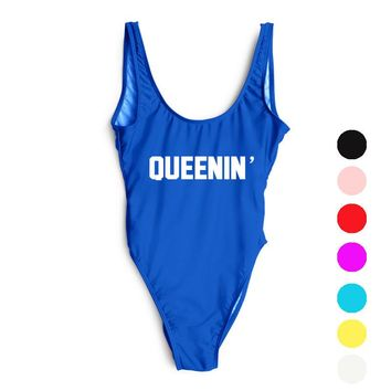 2017 QUEENIN' Funny Letter Print Swimsuit Women One Piece Bathing Suit Swimsuit High Cut Monokini Beachwear mayo