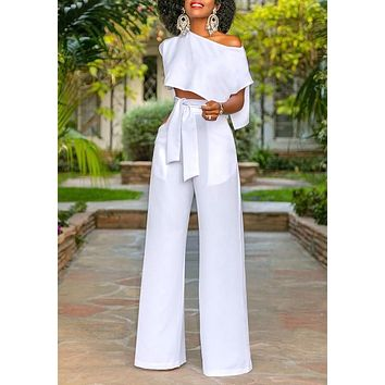 White Pockets 2-in-1 Drawstring Waist Fashion Long Jumpsuit