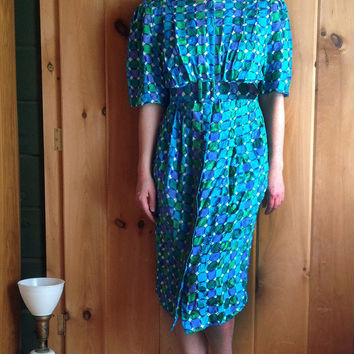 Vintage dress | 1980s/90s Adrianna Papell silk mod op art print dress