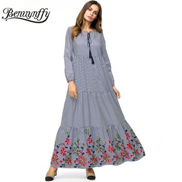 Benuynffy Tassel Tie O-neck Long Sleeve Plaid Maxi Dress 4XL Plus Size Autumn Women Casual Embroidery A Line Swing Dresses