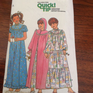 Vintage Butterick sewing pattern 6354 6355 young girls nightgown robe circa 1960