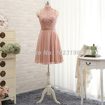 Blush pink chiffon key hole back promdress with lace top 2015 short mini chiffon prom dresses homecoming dresses