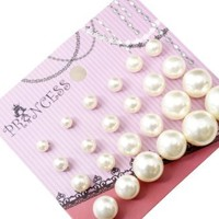 Pearl Color Bead Faux Pearl Stud Earrings, Wholesale lot of 12 Pairs, Mix Size