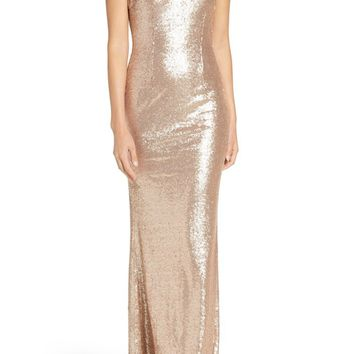 Lulus Sleeveless Sequin Drape Back Gown | Nordstrom