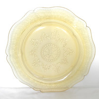 Vintage Yellow Etched Glass Serving Plate Clear Glass Scalloped Edge Plate French Country Cottage Home Decor Pressed Glass Serving Platters